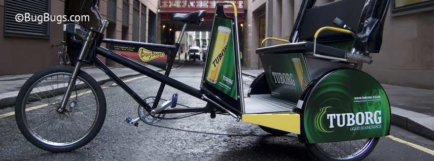 An example of Bugbugs rickshaw branding featuring Tuborg Beer