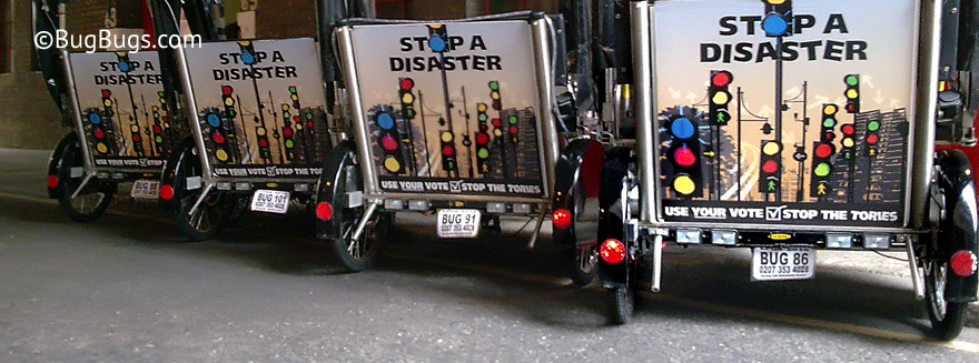 An example of Bugbugs pedicab branding featuring a 'use your vote' campaign