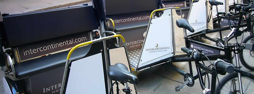 An example of Bugbugs pedicab branding for the Intercontinental Hotel Park Lane