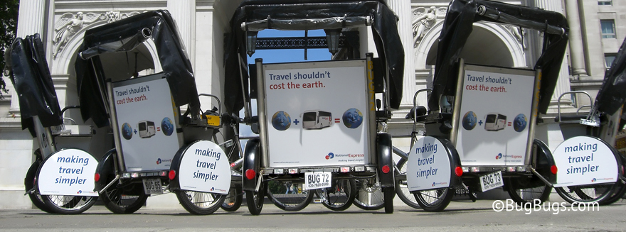 An example of Bugbugs pedicab branding for National Express Coaches