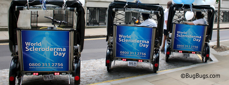 An example of Bugbugs rickshaw branding for World Scleroderma Day