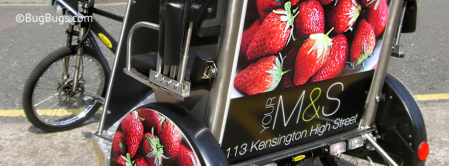 An example of Bugbugs pedicab branding for Marks and Spencers