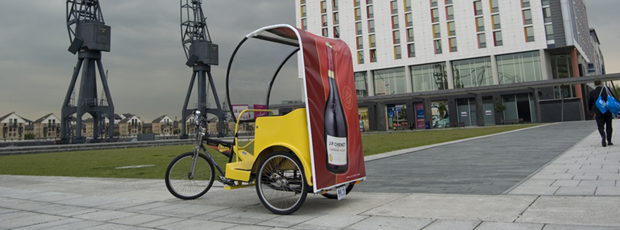An example of Bugbugs rickshaw branding for J.P Chenet wines